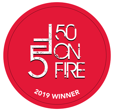 50 on fire Badge