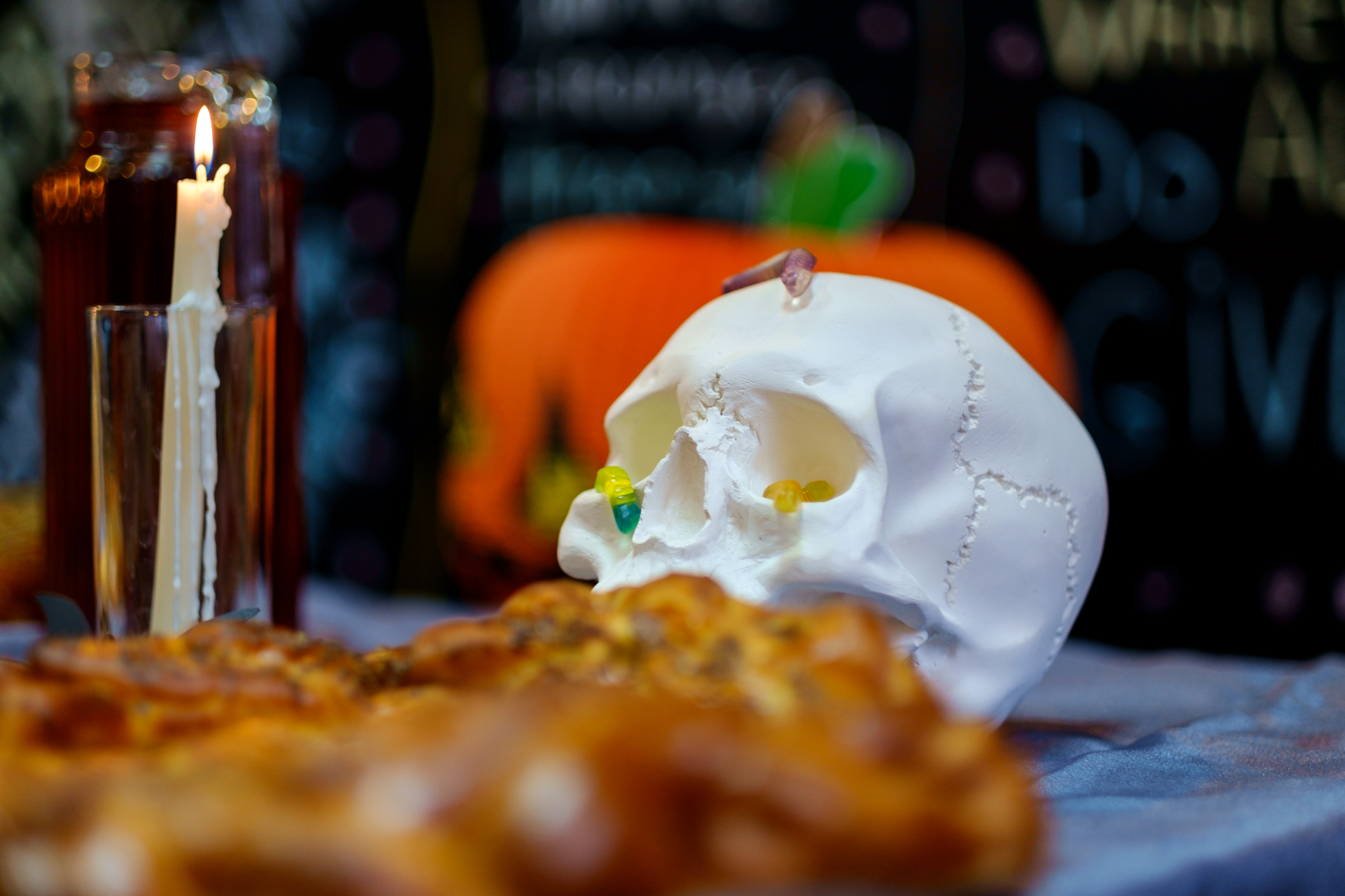 a scull-shaped decoration at AgileEngine Halloween party