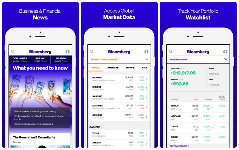 several screenshots of Bloomberg's cross-platform app built with React Native