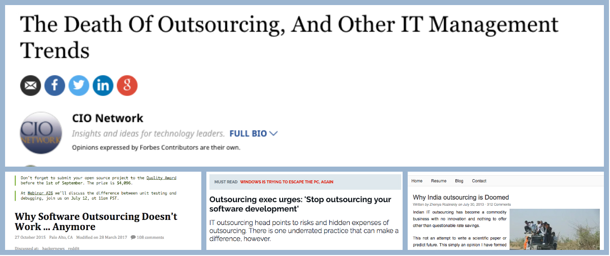 screenshots of articles claiming that software outsourcing is broken