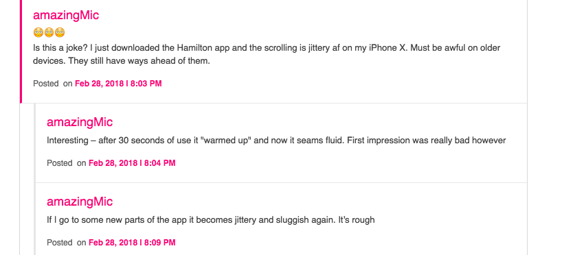 Screenshot of a comment about a Flutter application: the Hamilton app is slow on iPhone X