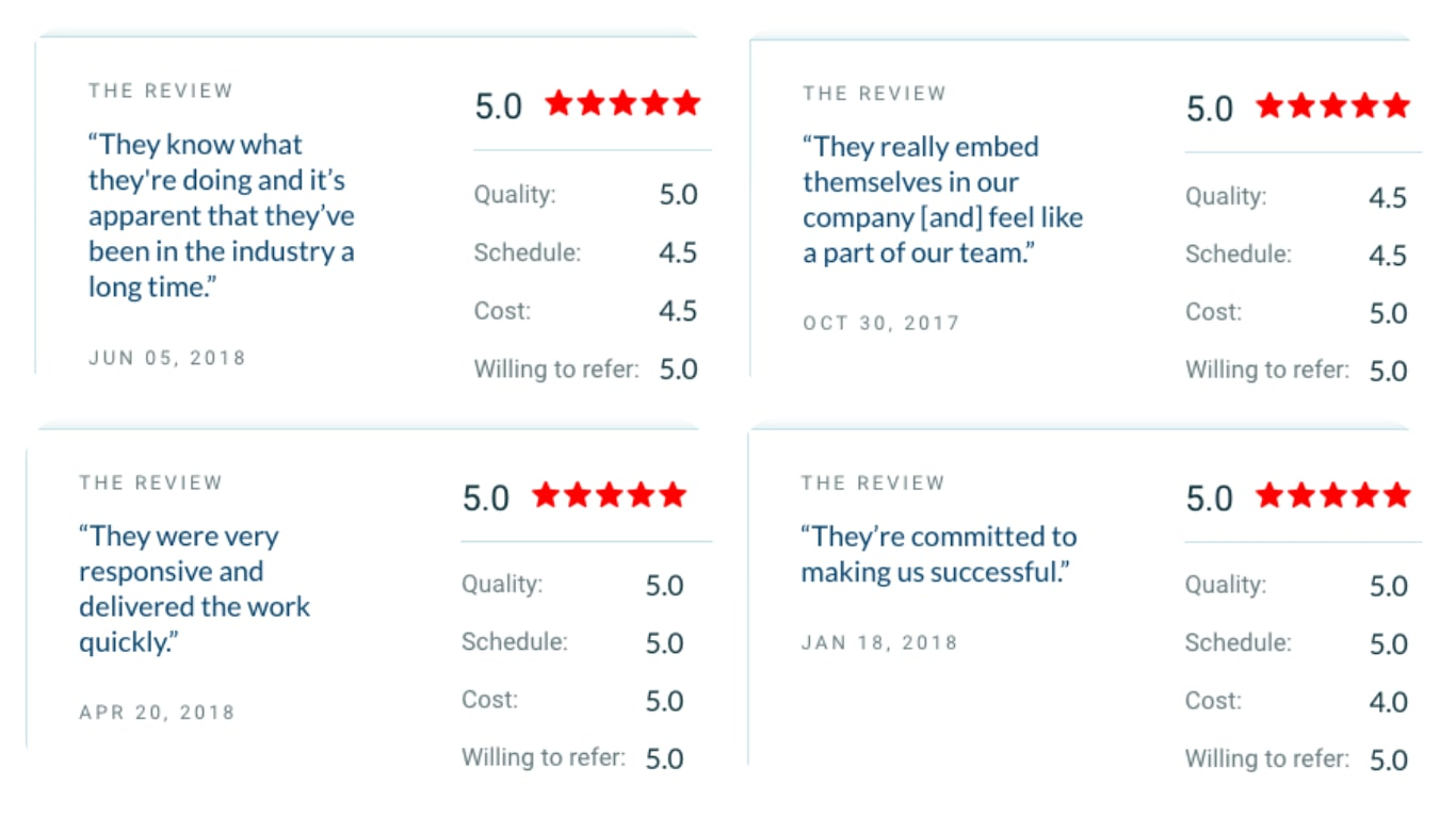 screenshots of reviews of AgileEngine on Clutch
