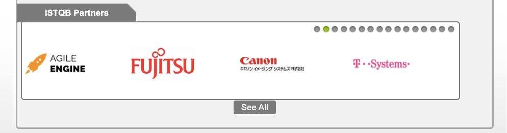 AgileEngine logo featured on the ISTQB website alongside Fujitsu, Canon, and T-Mobile