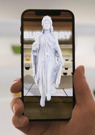 Burberry AR experience on mobile: a virtual Elphis statue seen via a smartphone app